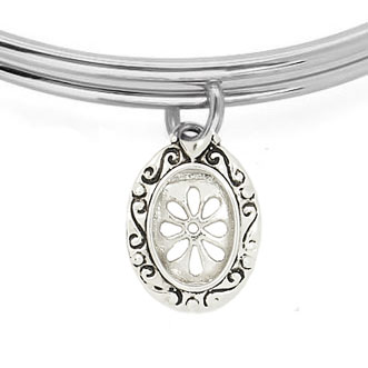 Expandble Bracelet in Sterling Plate & Sterling Oval Daisy Frame Charm
