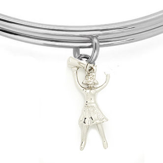 Expandble Bracelet in Sterling Plate & Sterling Charm Cheerleader with megaphone