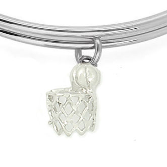 Expandble Bracelet in Sterling Plate & Sterling Charm Basketball net