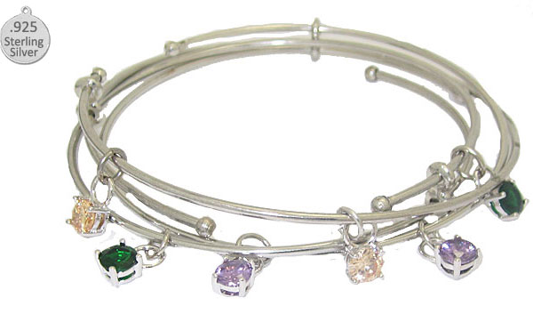 Expandble Wire Bracelet & Sterling Crystal Charm