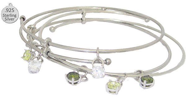 Expandble Wire Wholesale Bracelet & Sterling Crystal Charm