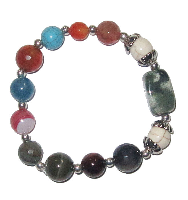 Genuine Semi Precious Stones in a Stretch Bracelet fits all  Multi