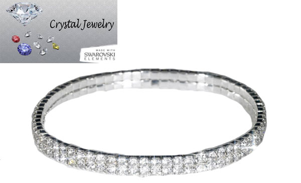 Swarovski Austrian Crystal Two Row Bracelet with pouch