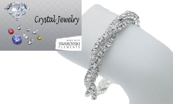 Two Row twisted stretch with genuine Swarovski crystal