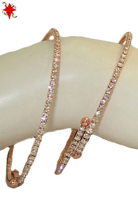 Single Row CZ Flex Bangle, Rose Gold
