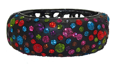 Enamel and Crystal Bangle Bracelet, hinged