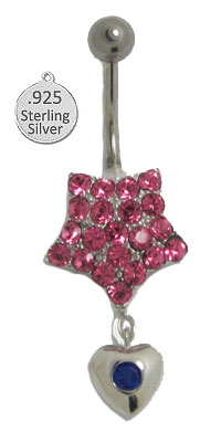 Belly Ring in Silver Body Charm Pink