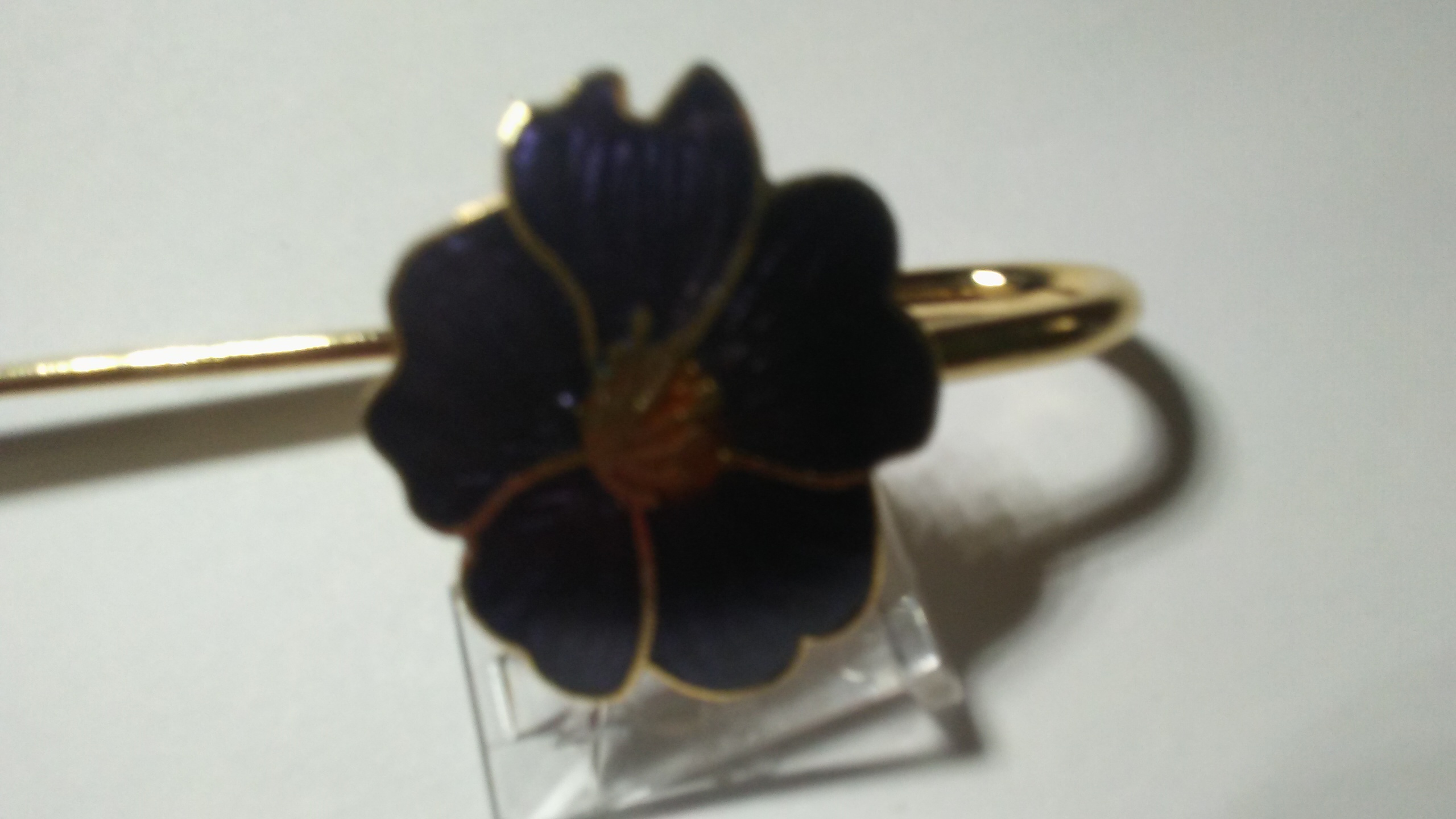 Vintage Cloisonne Bookmark Multi Colored Flowers Gold on Brass Blue NWT