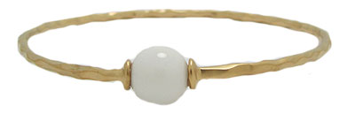 White Bangle Bracelet Yellow Mate Gold Single Ball