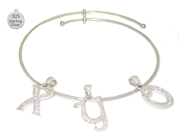 I Letter I Expandable Bangle with Letter Sterling Charm