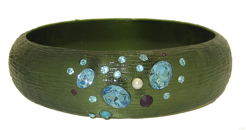 Emerald Green Resin Bangle Bracelets with Crystal accent