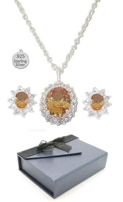 Sterling Silver & Genuine Citrine Stone earring necklace set