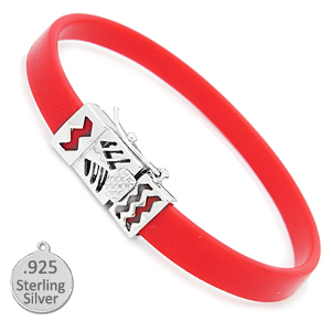 Red Rubber & Silver Bracelet for Slide Charms