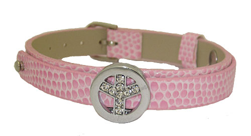 Pink Leather Slide Wholesale Bracelet with Peace Sign Charm