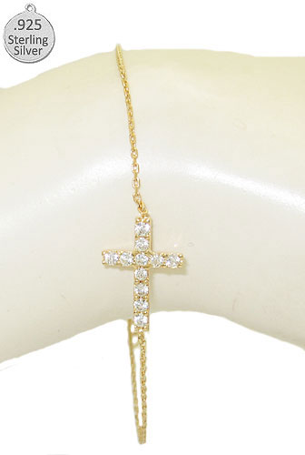 Sideways Hot 925 Sterling Silver Cross Bracelet