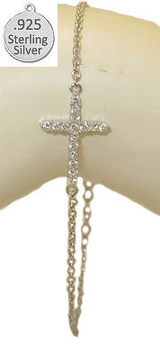 Hot 925 Sterling Silver Sideways Cross Bracelet