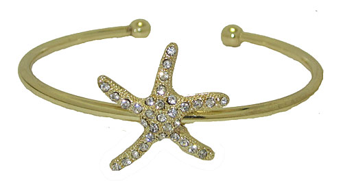 Yellow Gold and Crystal Star Fish Bangle Bracelet