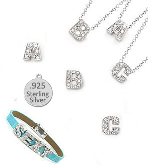 36 Block Sterling Silver Charm Letters for bracelet