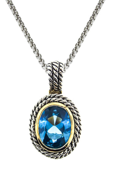 Double Cable Necklace Blue Topaz