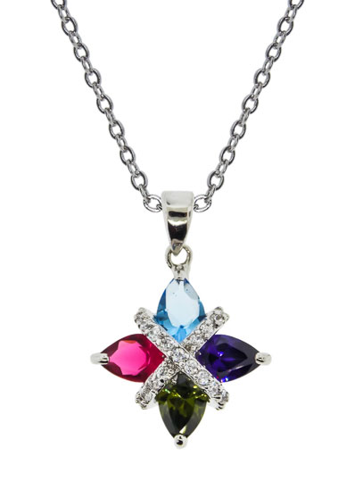 Unique Fancy Cz Pendant in Multi