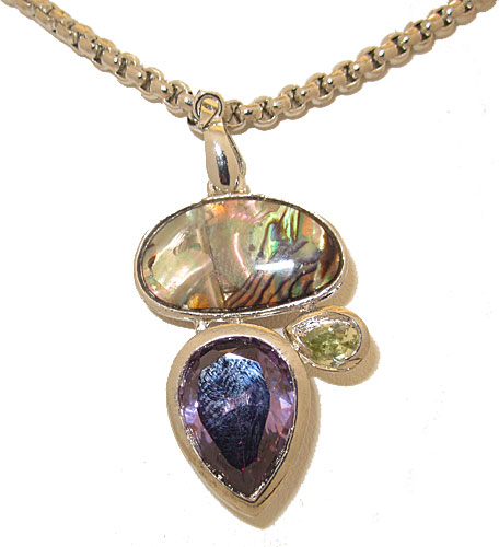 Silver & Abalone stone in Amethyst and Peridot CZ pendant