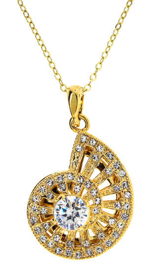 Yellow Gold & Cz Nautilus Shell Pendant