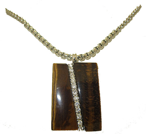 Genuine Tiger Eye Pendant wholesale accented  in Stones