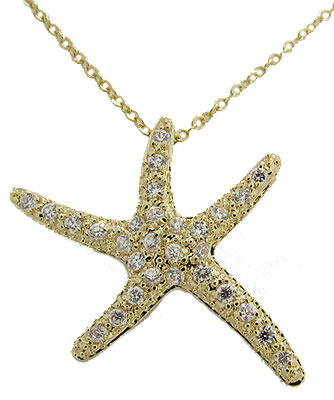 Star Fish Necklaces Yellow Gold