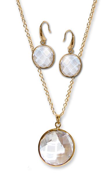 Clear Fauceted round pendant with matching earrings