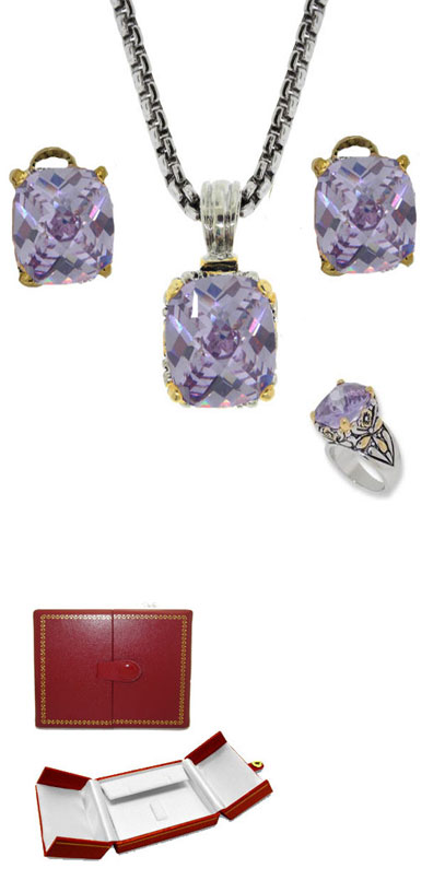 Designer Cable Jewelry 3 pcs Set in Lavender in Red Faux Leather Box