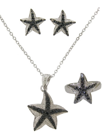 Star Fish Earring, Necklace & Ring Set 3 pcs in faux Red Leather Box