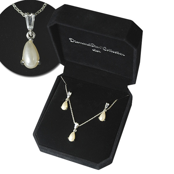 Cultura Pearl Necklace Earring Set Silver
