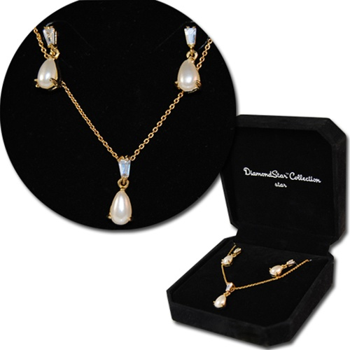 Cultura Pearl Necklace Earring Set  Gold Tone