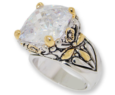 Designer Cable Jewelry Ring Clear White