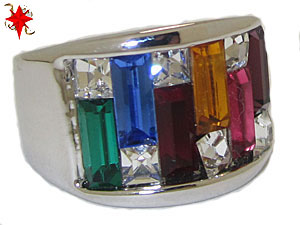 Rainbow Ring with wide band white gold