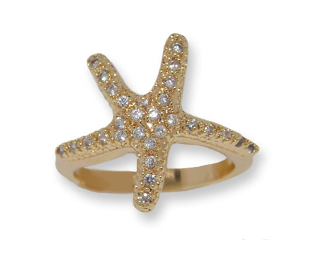 Pave Austrian Crystal Starfish Wholesale Designer Ring