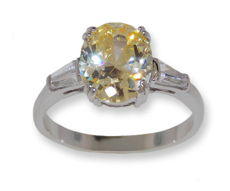 Canary Yellow CZ classic wholesale ring