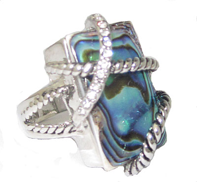 Abalone & Crystal Wholesale Ring