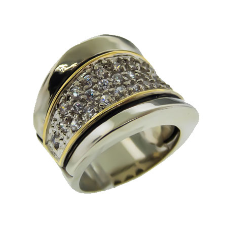 Two Tone Cubic Zirconia wholesale ring