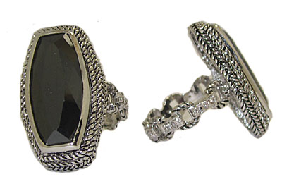 Fancy Cut Jet Black Swarovski Stone Ring