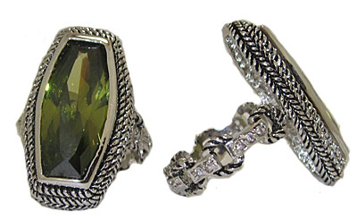 Fancy Cut Olive Green Swarovski Stone Ring