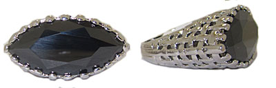 Austrian Crystal Rhodium Jet Black Wholesale Ring