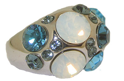 Blue Topaz Austrian Crystal Dome Ring in Rhodium