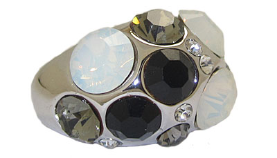 Jet Austrian Crystal Dome Ring in Rhodium