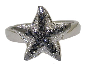 Designer Star Fish Ring in Clear Jet Black
