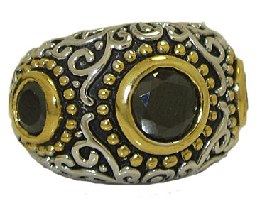 Mosaic Style Band Ring accented in 18kt Austrian Crystal