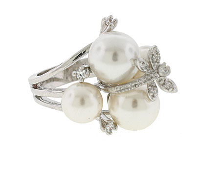 Cream Pearl Crystal Designer Wholesale Ring