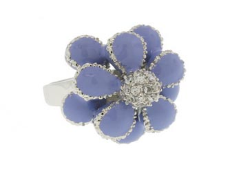 Designer Flower Ring accented in Swarovski Stones