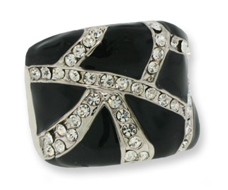 Silver Clear White Crystal & Black Epoxy Ring