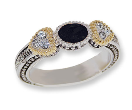 Two+toned+antiqued+silver%2C+Jet+CZ%2C+White+Crystals+Wholesale+ring